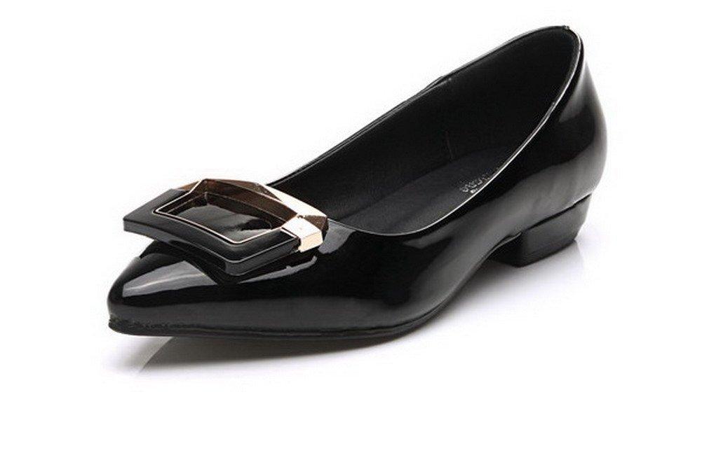 AalarDom Women's Low-Heels Pointed-Toe Pumps-Shoes with Glass Diamond, Black-Glass Diamond, 34