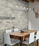 AS-IS BRAND Wood Walls (WHITE-ISH) - Glue & Stick Aged Wood Planks (20 Sq. Ft)