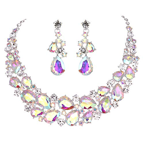 Set Necklace Rhinestone Ab - Youfir Austrian Rhinestone Teardrops Necklace and Earrings Jewelry Sets for Women Wedding Party Dress (Crystal AB)