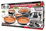 Gotham Steel 15-Piece Titanium and Ceramic Nonstick Copper Frying Pan and Cookware Set – Includes 5 Utensils
