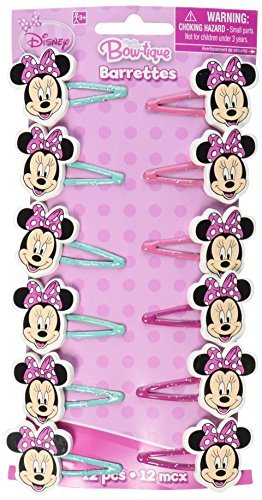 Disney Minnie Mouse Bow Hair Clip, Multi Color, 1X1 3/4-Inch (12 -