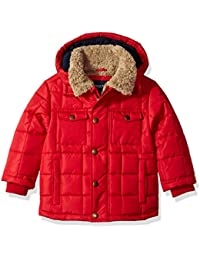 Red Hooded Bubble Jacket With Teddy Faux Fur Lining L217895 Outerwear