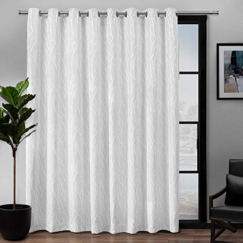 Exclusive Home Curtains Forest Hill Woven Blackout Grommet Top Single Curtain Panel, 108X84, White