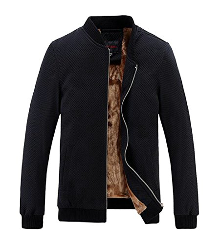 Zipper Lined UK Flannce Jackets Coat today Classic Black Fleece Men's Neck Stand Thicken qAqOxYn