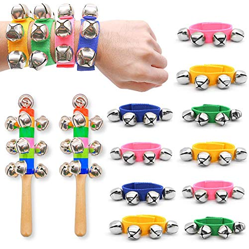 DomeStar Wrist Band Bells, 10PCS Multi-Color Jingle Bells Musical Rhythm Toys with 2PCS Handle Wooden Bells for Kids Children School Party