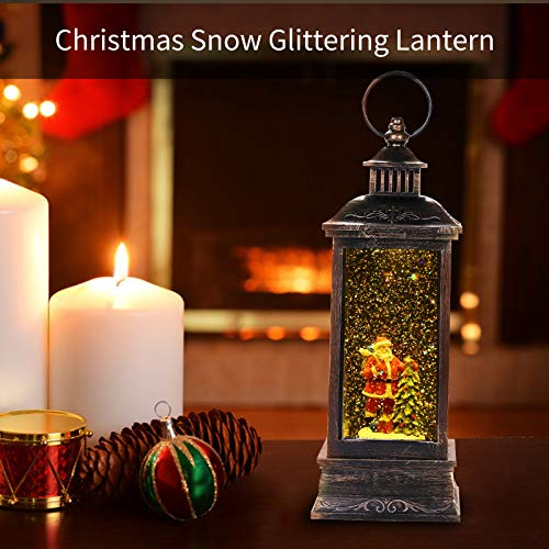 LSXD Lighted Water Lantern Glittering with Music,Christmas Snow Globe with Timer,Battery Operated/USB Powered Singing Snow Globe for Kids Santa Claus LED Water Lantern for Christmas Home Decoration