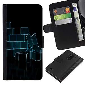 A-type (Ladrillos Resumen de neón azul) Colorida Impresión Funda Cuero Monedero Caja Bolsa Cubierta Caja Piel Card Slots Para LG G3