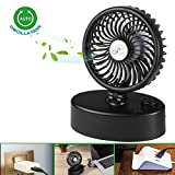 2018 Desk USB Fan& Unique Mini Desk Oscillating Fan with Adjustable Switch, Super Quiet, 90 Degree Rotation&180 Levels Rotation, Perfect Small Personal Fan for Table & Outdoor with Strong Wind-Black