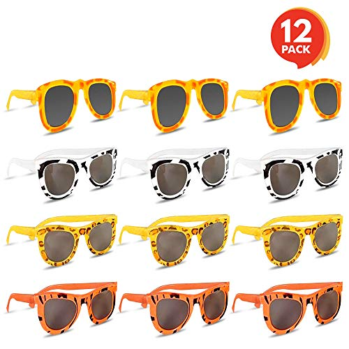 Colorful Safari Sunglasses (Pack of 12) by ArtCreativity | Youth Size | Assorted Animal Prints on Good Quality Material | Summer Time Fun | Great Party Favor | Amazing Gift -