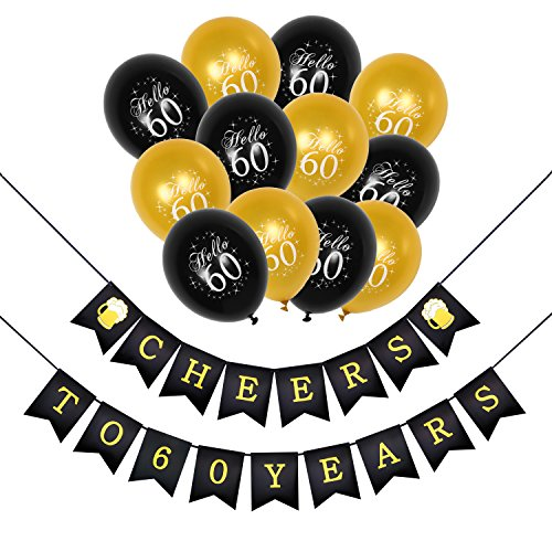 Konsait 60th Birthday Party Decorations Kit, Cheers to 60th Birthday Banner for Her Him, Celebration 60th Birthday Latex Balloons Gold and Black for ...