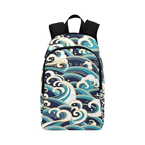 Unique Debora Custom Outdoor Shoulders Bag Fabric Backpack Multipurpose Daypacks for Adult with Design Traditional Ocean Waves Foam Splashes