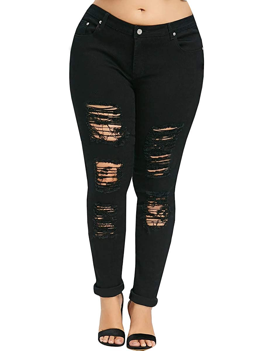 664dda4a93 Women's Hight Waisted Butt Lift Stretch Ripped Skinny Jeans Distressed Denim  Pants,Made of high-quality,soft lightweight denim cotton fabric,the jeans  are ...