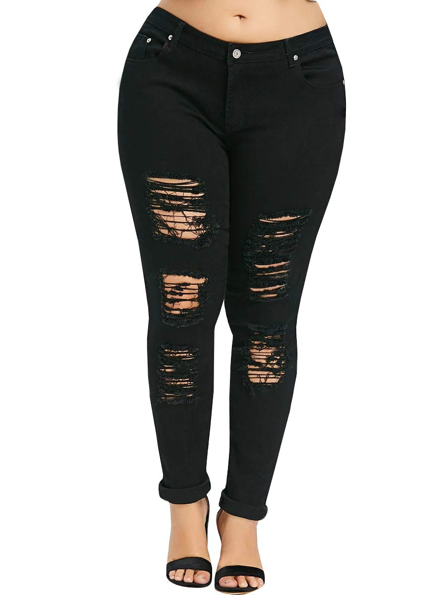 YONYWA Plus Size Womens Jeans Skinny High Waisted Ripped Distressed Stretch Pants Boyfriend Trousers
