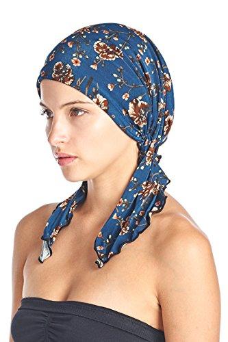 Ashford & Brooks Women's Pretied Printed Fitted Headscarf Chemo Bandana - Denim Brown Floral