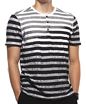 Calvin Klein Jeans Men's Short Sleeve Stripe Henley Shirt
