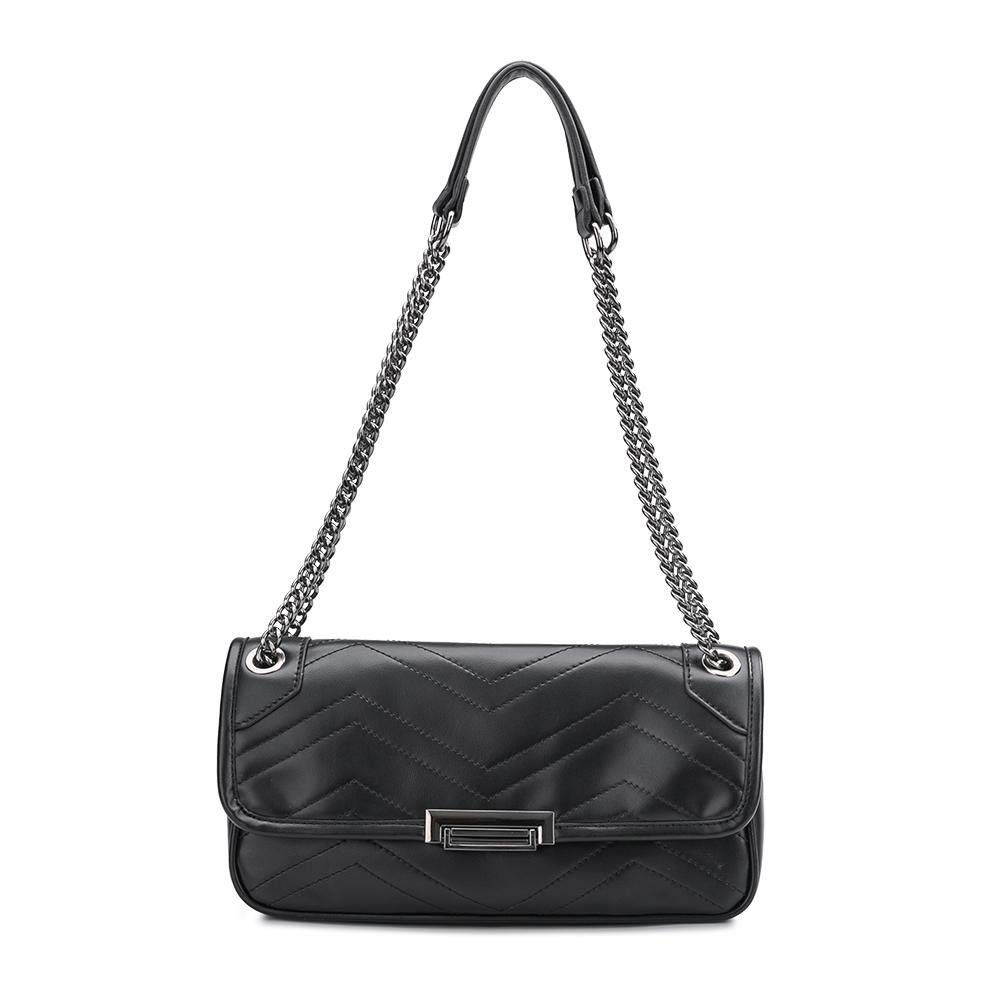 Melie Bianco Andie Quilted Vegan Leather Shoulder Crossbody Bag, Black