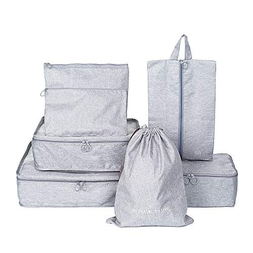 7 Set Packing Cubes, Travel Luggage Packing Organizer with Laundry Bags, Multi-functional Travel Suitcase Clothing Sorting Packages Accessories Cosmetic Makeup Pouches, Shoe Bag Included (Gray) from DonYeco
