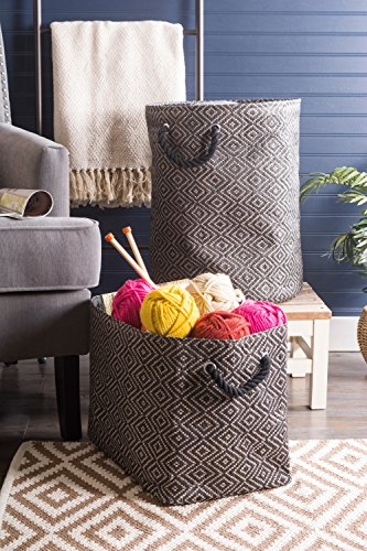 """DII Oversize Woven Paper Storage Basket or Bin, Collapsible & Convenient Home Organization Solution for Office, Bedroom, Closet, Toys, Laundry(Large - 17x12x12""""), Black & White Diamond Basketweave by DII (Image #5)"""