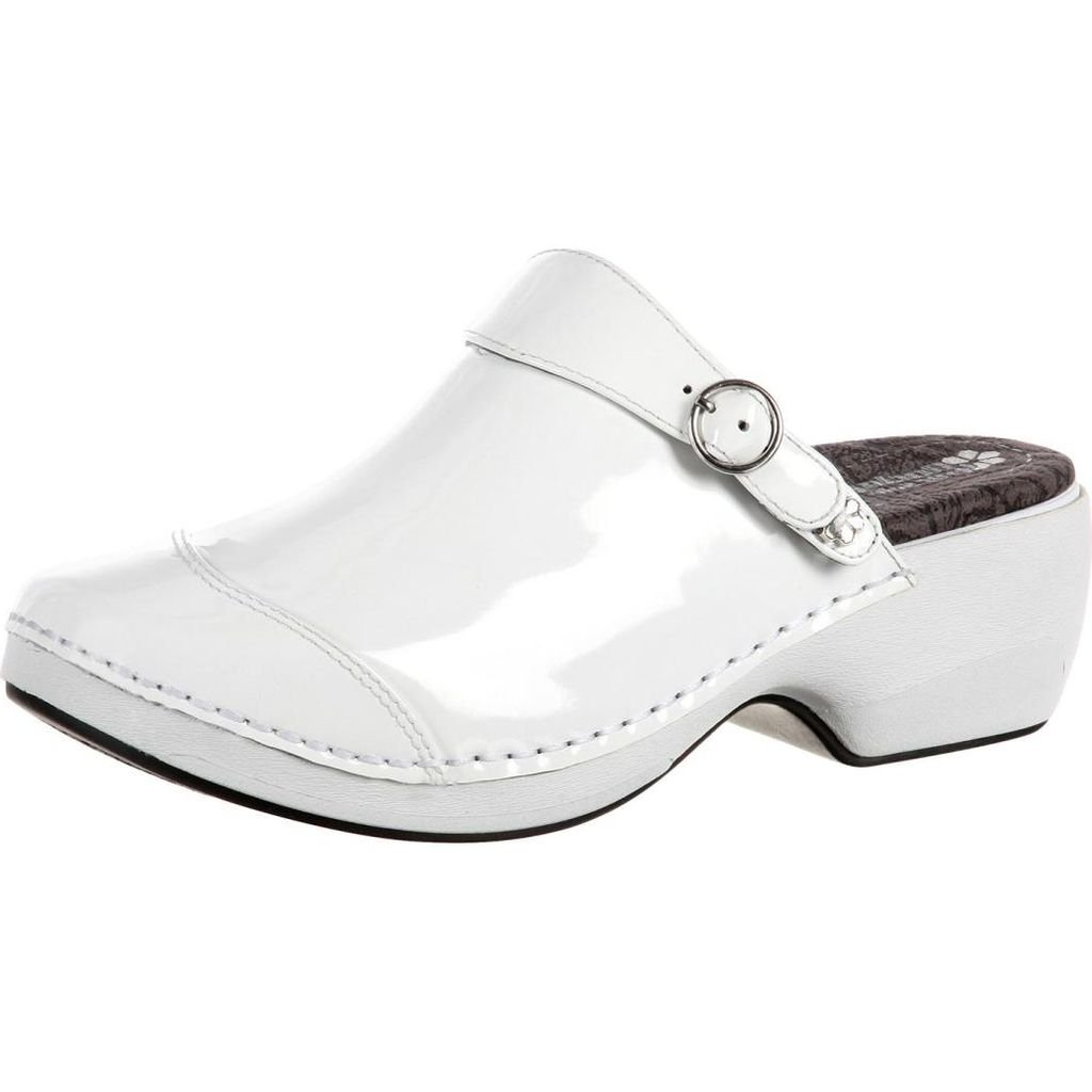 4EurSole Work Shoes Womens Patent Leather Clog 42 W White RKH051