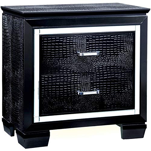 Contemporary Style 2-Drawer Nightstand, Black Finish, Silver Trim Lining, Crocodile Textured Faux Leather Drawer Panels, Bedside Table, Bundle with Our Expert Guide with Tips for Home Arrangement