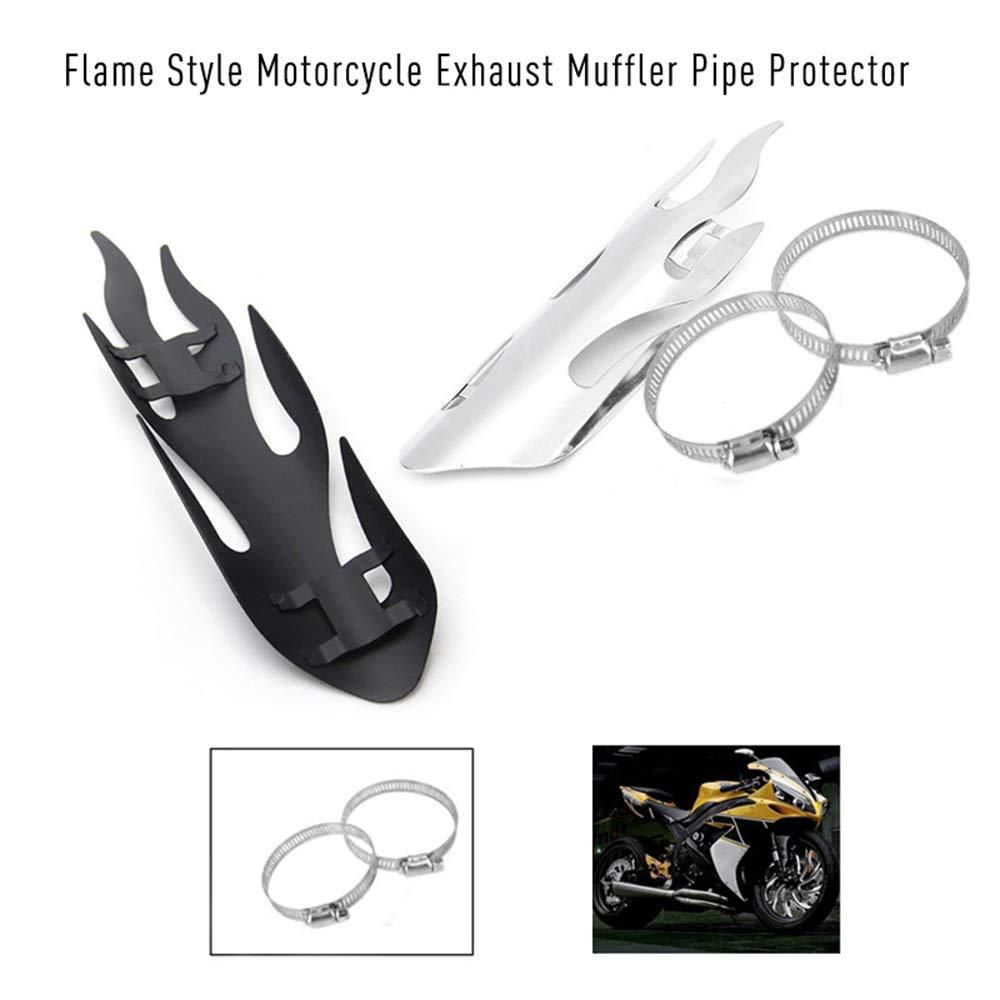 Kshzmoto Estilo de Llama Moto Escape Silenciador Protector de Tubo Cubierta Protectora de Calor para Todos Dirt Bike Off Road Racing con di/ámetro 2 a 7 cm Abrazaderas