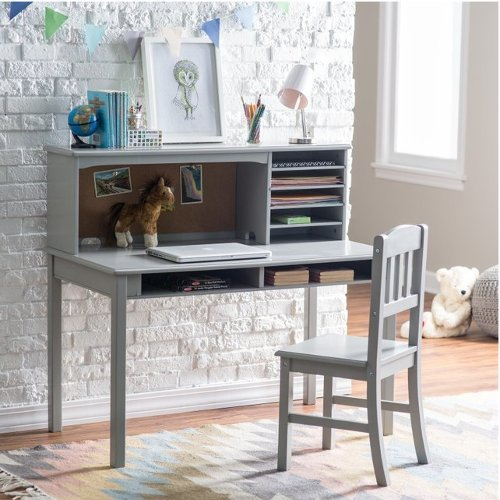 Children's Wood Media Desk with Gray Laminate Surface and Hutch with 4 Shelves and Matching Chair