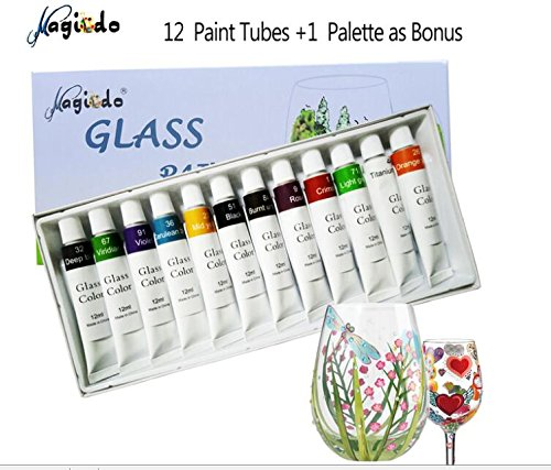 Violet Stained Glass (Magicdo Stained Glass Paint with Palette,Transparent Glass Window Color Paint Set Great for Wine Bottle, Light Bulbs, Ceramic (12 Colorsx0.4 Fl oz))