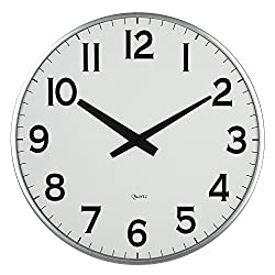 Lulu Decor, 18 Slim Large Wall Clock, Round Modern Sleek Design only 0.75 Thick, Large Wall Clock Battery Operated (Slim Silver)