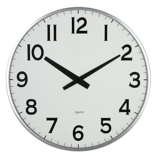 Lulu Decor, 18 Slim Large Wall Clock, Round Modern Sleek Design only 0.75 Thick, Large Wall Clock Battery Operated Slim Silver