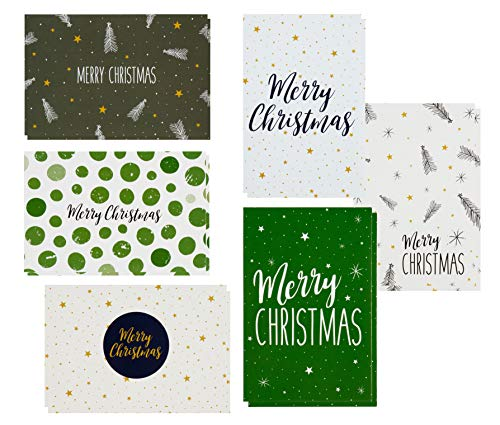 48 Pack of Christmas Winter Holiday Family Greeting Cards Green and Cream Merry Christmas Festive Designs Boxed with 48 Count White Envelopes Included 4.5 x 6.25 Inches (Cards Christmas)