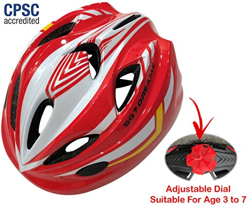 (Kids Bike Helmet For Bicycle Cycling, Skateboard, Scooter – Adjustable Harness From Age 3 To 7 For Head Size 19.6-22 inch - Durable Toddler Kid Bicycle Helmets Boys and Girls Will Love (White Red))