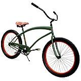 Zycle Fix Bike Cobra Series 26'' Wheel Beach Cruiser Bicycle - ARMY COLOR