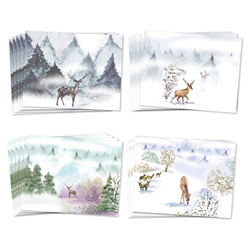 (48 Holiday Greeting Cards, Assortment of 4 Winter Woodlands Deer Designs Envelopes Included, Peaceful Christmas Greetings for Family & Friends, Mixed Variety Boxed Cards, Excellent Value by Digibuddha)