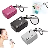 Airbrush Makeup Kit, BI-LIGHT Cosmetic Makeup Airbrush and Compressor System for Face, Nail, Temporary Tattoos, Cake Decorating (Black)