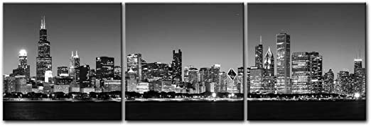 Chicago Skyline Cityscape B/&W Canvas Print Painting Framed Home Decor Wall Art