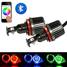 iJDMTOY Wifi Remote Control 30W CREE RGBW Multi-Color H8 LED Angel Eyes Ring Marker Bulbs For BMW 1 3 5 Series Z4 X5 X6