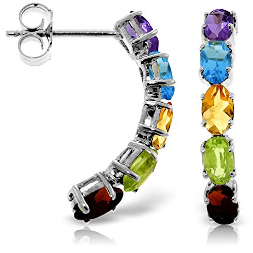 2.5 Carat 14K Solid White Gold Earrings Natural Multicolor Gemstones ()