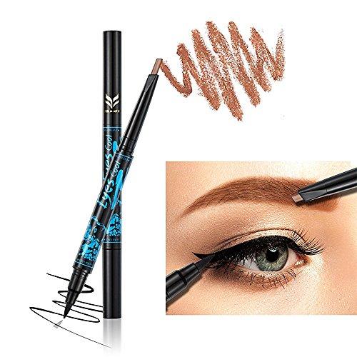 Ladygo 2 in 1 Automatic Eyebrow Pencil with Eyeliner Long-lasting Waterproof Makeup Cosmetic Tool, Light Brown-4#