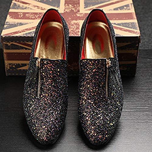 Oxford De Brillos Con Punta Estrecha Zapatos Vestir Para Negro Mocasines Hombres ABz8Bq