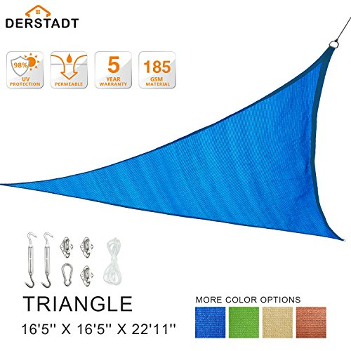 Derstadt Triangle 16'5'' X 16'5'' X 22'11'' 98% UV Block Sun Shade Sail Stainless Steel Hardware Kit, Top Outdoor Patio Canopy Backyard Shelter (5 Years Warranty, 185G HDPE, 24.6'PE Rope) (Blue) by Derstadt