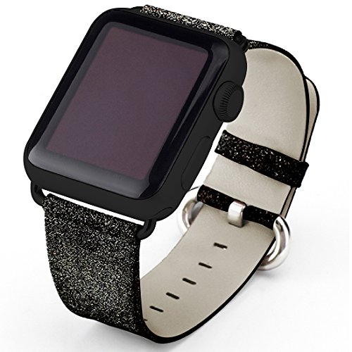 Apple Watch Band, iitee Glitter Bling Replacement Leather Bracelet for Apple Watch Series 1 Series 2 (Black 42mm)
