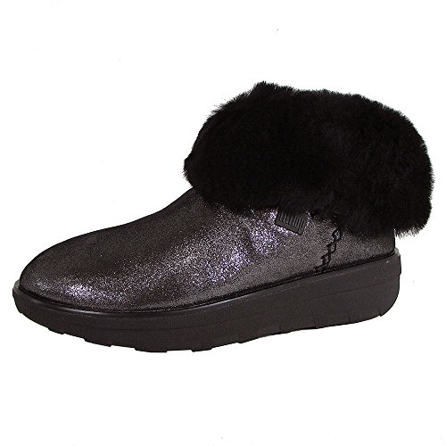 FitFlop Womens Mukluk Shorty 2 Shimmer Shearling Boot Shoes, Black, US 6 (Boot Womens Mukluk Fitflop)