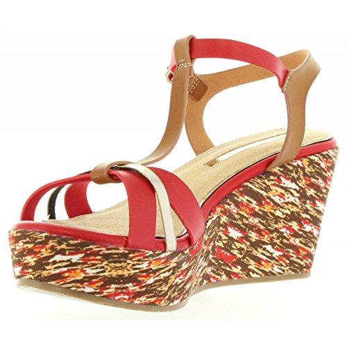 MARIA MARE Zapatos de Cuña de Mujer 66200 Buffalo Rojo