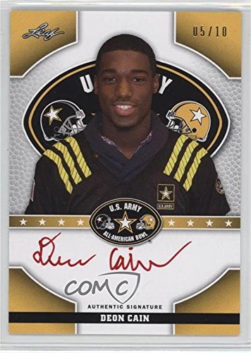 Deon Cain #5/10 (Football Card) 2015 Leaf U.S. Army All-American Bowl - Tour Autographs - Red Ink #TA-DC1