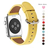 Apple Watch Band 38mm, WFEAGL Retro Top Grain Genuine Leather Band Replacement Strap with Stainless Steel Clasp for iWatch Series 3,Series 2,Series 1,Sport, Edition (Yellow Band+Silver Buckle)