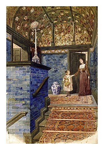 Global Gallery Art on a Budget T. Hamilton Crawford Staircase Hall with William De Morgan Tiles Unframed Giclee on Paper Print, 22