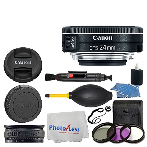 Canon EF-S 24mm f/2.8 STM Lens + 3 Piece UV Filter Kit + Lens Band + 3 Piece Cleaning Kit + Lens Cleaning Pen + Lens Cap Holder + Photo4Less Cleaning Cloth - Deluxe Lens Accessory Bundle (Canon Eos 7d Kit Best Price)