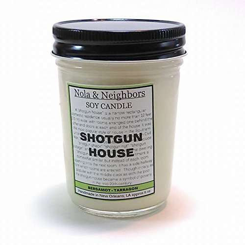 Bergamot Tarragon Candle - Herbal Candle - Citrus Candle - Bergamot Candle - Shotgun House - New Orleans Gift - Handmade Scented Soy Candle - Highly fragrant, long lasting - 50+ hours of burn time