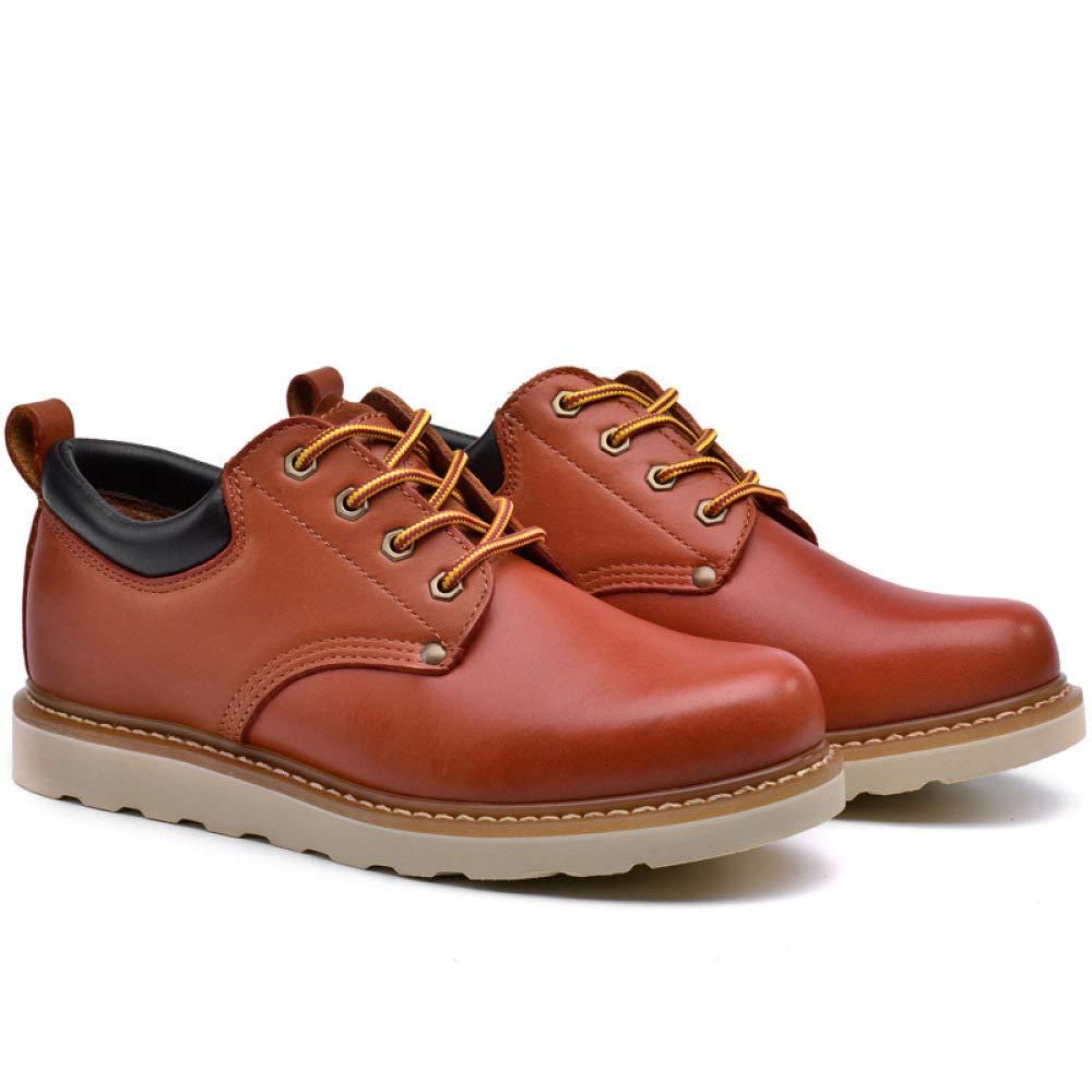 GHCX Chaussures Homme Bottes Martin Automne Et Hiver Outillage Chaussures De Cuir Outillage Hiver Occasionnels en Plein Air Antidérapant Respirant Mode Low-Top Cuir Véritable,Reddish-Brown-39 f95fa9