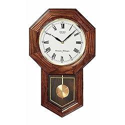 Brand New Seiko Clock - Franklin Solid Oak Pendulum Wall Clock QXH102BC